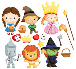 a vector set of many character in wizard of oz
