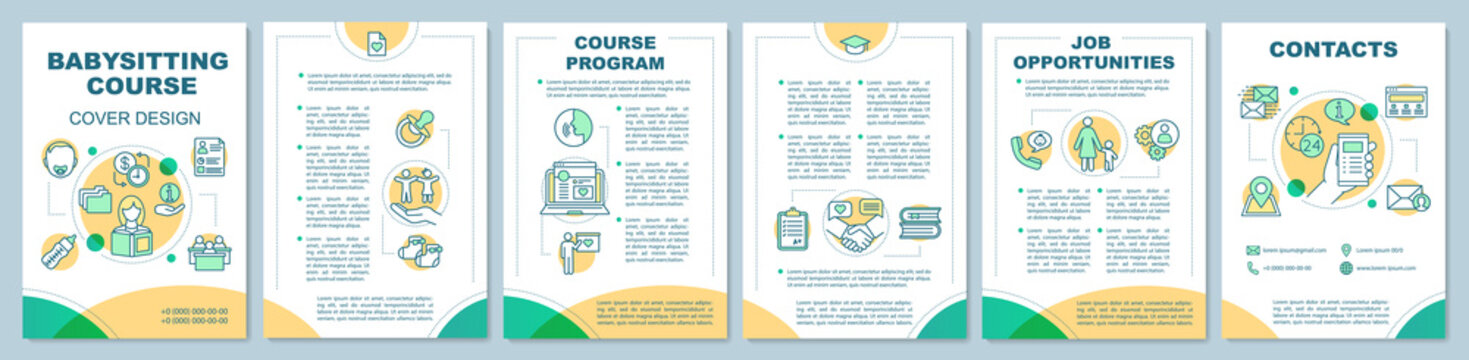 Babysitter course in quiet colours brochure template layout
