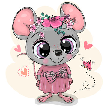 Greeting card Cartoon Mouse with flowers