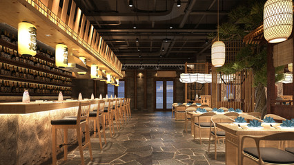 Obraz 3d render of cafe restaurant - fototapety do salonu