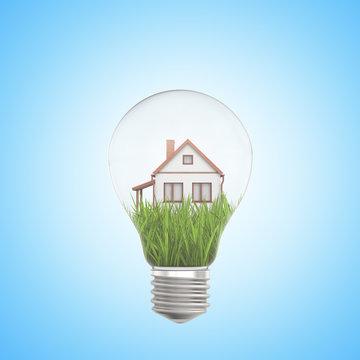 3d rendering of white house on green grass inside a light bulb on blue background