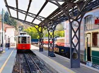 Turin, Italy - March 21, 2019: The ancient funicular tramway of Sassi allows you to reach the basilica of Superga from the valley floor of the Sassi district of Turin