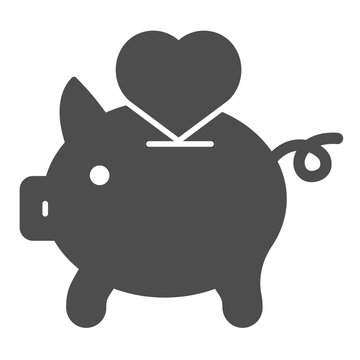 Saving love solid icon. Piggy bank and heart vector illustration isolated on white. Hand putting heart in pig glyph style design, designed for web and app. Eps 10.