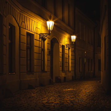 Prague Old Town Ally at Night with Lanterns and street lights