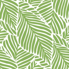 Poster Tropische Bladeren Abstract bright green leaf seamless pattern. Exotic plant.