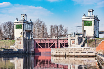 View of the gateway on the river. Moscow. Russia.