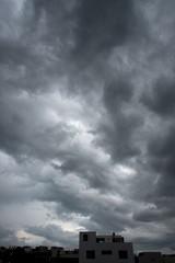 Fototapeta Dramatic cloudy summer sky in Puebla Mexico obraz