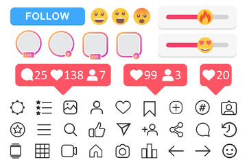 Big set of social media icons. Vector illustration