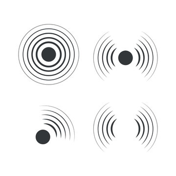Radar icons. Sonar sound waves. Vector