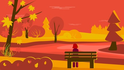 Fall landscape with girl sitting on a bench