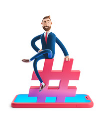 3d illustration. Businessman Billy sitting on a hashtag icon. The concept of social media.