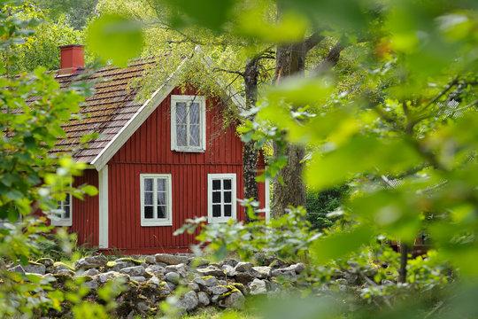 Red wooden house in sweden, Scandinavia, Europe