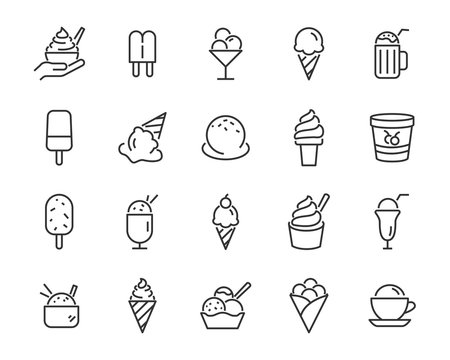 set of ice cream icons, such as  parfait, frozen yogurt, ice cream sundae, vanilla, chocolate