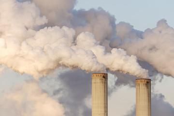 Smoke stacks of coal fired power station, Germany, Europe