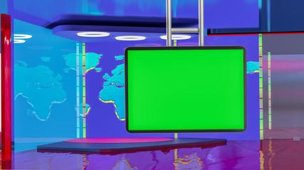 Virtual TV news broadcast studio set background