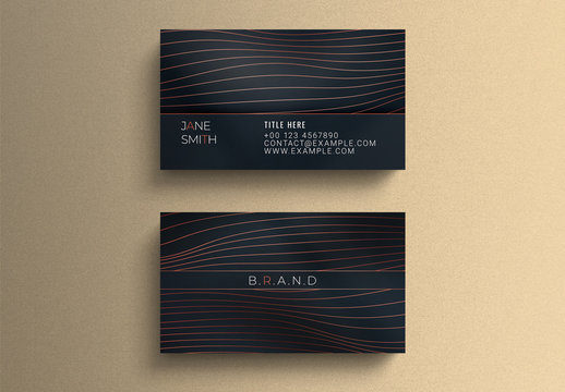 Business Card Layout with Wavy Line Elements