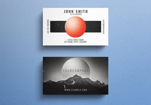 Business Card Layout with Outer Space Elements