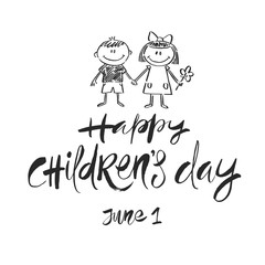 Happy Childrens day - hand drawn vector illustration. Brush calligraphy greeting and drawn children. Vector illustration.