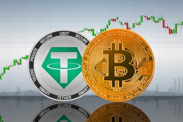 Bitcoin (BTC) and Tether (USDT) coins on the background of the chart; bitcoin and Tether cryptocurrency; crypto exchange