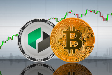 Bitcoin (BTC) and Ubiq (UBQ) coins on the background of the chart; bitcoin and ubiq cryptocurrency; crypto exchange