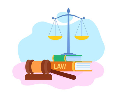 Law and Justice Symbols Flat Vector Illustration