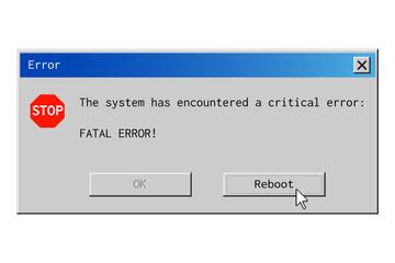 Fototapeta Fatal error dialog box. System failure message in retro style. obraz