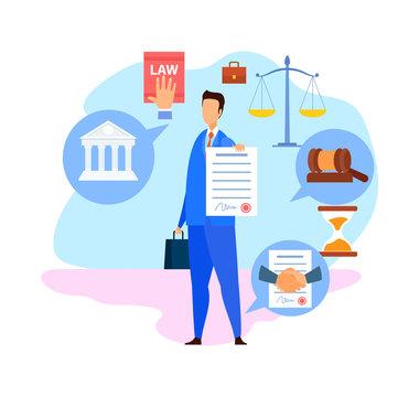 Corporate Lawyer, Advisor Flat Vector Character