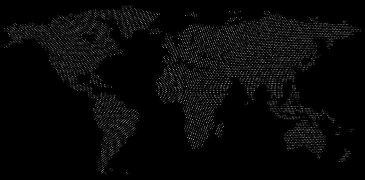 Dotted world map for big data infographics visualization.