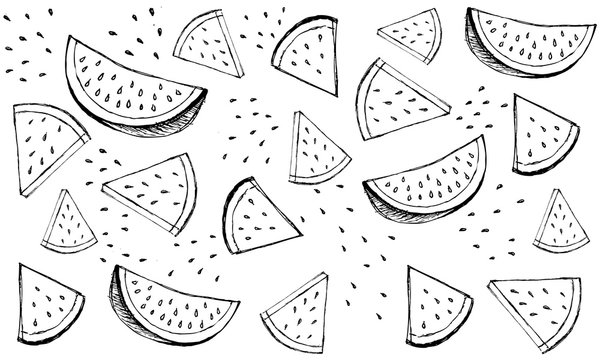 Hand drawn vector pattern with watermelons.