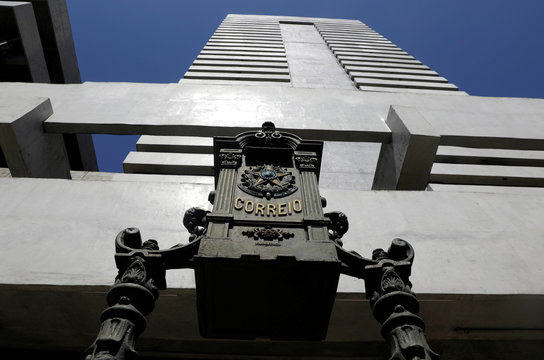 An old mail box is pictured outside the national postal office 'Correios' headquarters in Rio de Janeiro