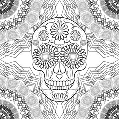 black and white illustration with a skull, a symbol of the traditional Mexican holiday Day of the dead and the Day of angels
