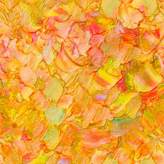 Seamless abstract textured oil pattern autumn color leaves concept, painting on canvas. Impasto artwork. Impressionism art.