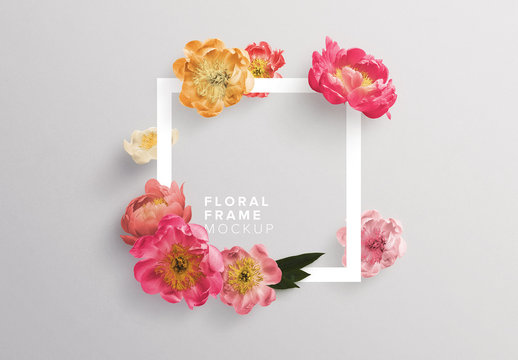 Peonies with Frame Mockup
