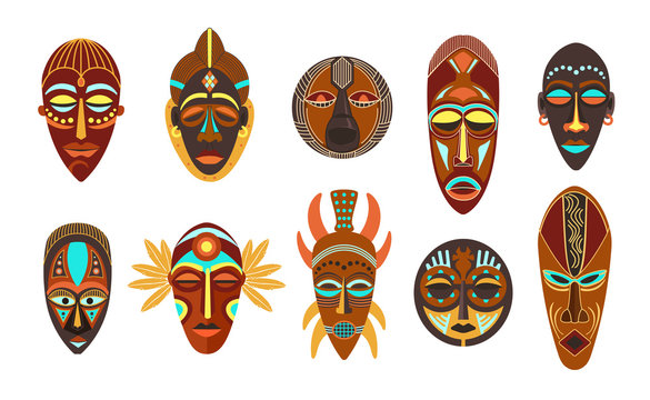 Flat set of colorful african ethnic tribal ritual masks of different shape isolated on white background.