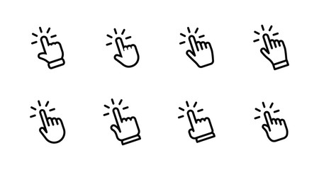 Hand clicking icon set. Finger click pointer.