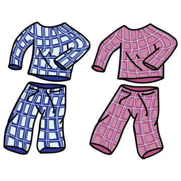 Cute pyjamas vector illustration motif set. Hand drawn isolated domestic sleepy elements clipart for home blog, cozy graphic, boys and girls clothes web buttons.