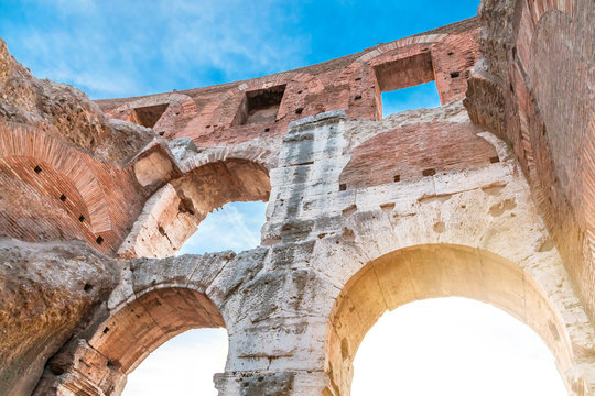 Italy, Rome, arches of Colosseum