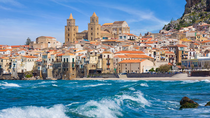 Aluminium Prints Palermo Cefalu is city on Tyrrhenian coast of Sicily, Italy