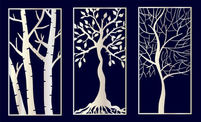 Set of Decorative laser cut panels with tree shapes.