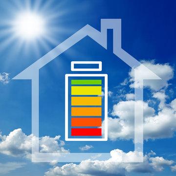 Haus Illustration Sonnenenegie mit Batteriespeicher, Akkuspeicher