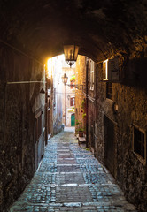 Foto op Canvas Smal steegje Anagni (Italy) - A little medieval city in province of Frosinone, famous to be the