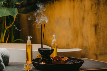 Spa salon, massage oils, incense sticks