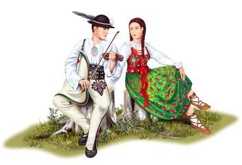 Fototapeta Polish Highlander Couples obraz