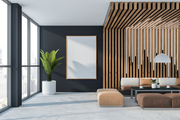 Gray and wooden office waiting room with poster