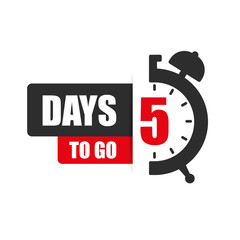 Number of 5 days to go flat icon. Vector stock flat illustration.