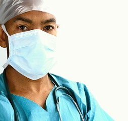 doctor with stethoscope and mask in hospital with white background stock photo