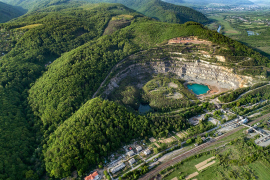 Quarry for the extraction of stone and sand. View from above.