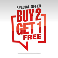 Buy 2 get 1 free in brackets speech red white isolated sticker icon