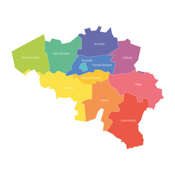 Provinces of Belgium. Map of regional country administrative divisions. Colorful vector illustration