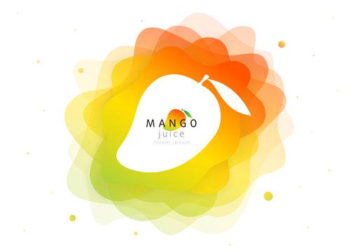 Mango tropical fruit for fresh juice cocktail. 3d abstract shape liquid splash. Flat fluid of creative paint blend. Modern vector illustration design layout